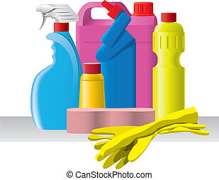 Group of detergents and cleaners - Group of bottles with...