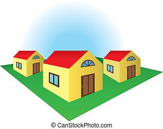 Houses on the corner of the residental block