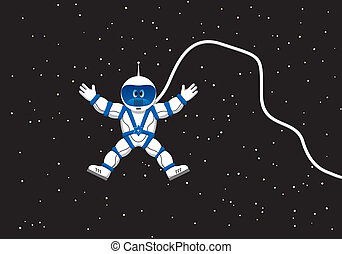 Astronaut in outer space - Astronaut with spacesuit and wire...