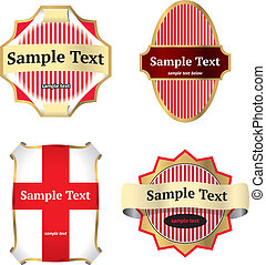 Set of vintage labels - Set of four golden and red vintage...