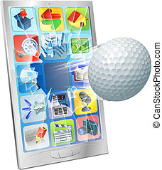 Golf ball flying out of cell phone - Illustration of a golf...