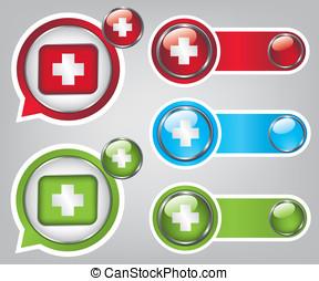 primeiro, ajuda, ícone, Botões, illustratio