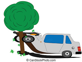 Accident - Illustration of a casrtoon machine with a tree as...