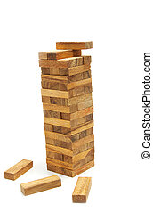 tower wood blocks ,stand on white background