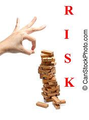 madeira, blocos, instabilidade, risco, conceito, abstratos,...