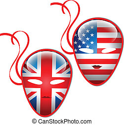 American and British flags mask.Vector