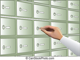 deposit box - human hand opening deposit box with key
