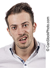 Funny man face - A real funny man face isolated over white...