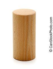 wooden geometric shapes cylinder prism isolated on a white...