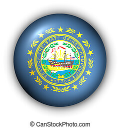 Round Button USA State Flag of New Hampshire - USA States...