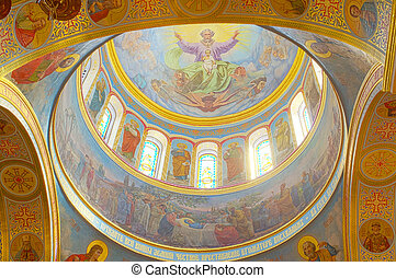 The interior of the Orthodox Cathedral in Odessa, Ukraine