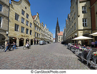 Munster, Germany - old monumental facades at the famous...