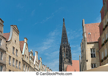 church in Munster - view on the Lamberti church tower in...
