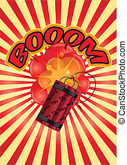 tnt boom sunburst - illustration of dynamite with explosion...
