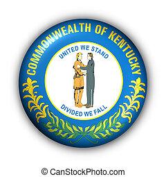 Round Button USA State Flag of Kentucky - USA States Flag...