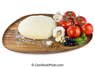 pizza dough with ingredients