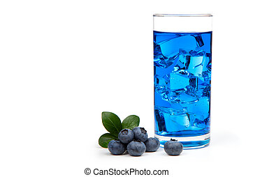 Blueberry juice cocktail with ice, isolated on white...