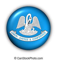 Round Button USA State Flag of Louisiana - USA States Flag...