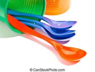 reciclable, tazas, cucharas, plástico