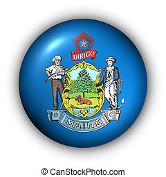 Round Button USA State Flag of Maine - USA States Flag...
