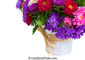 mixed aster flowers in vase  isolated on white background
