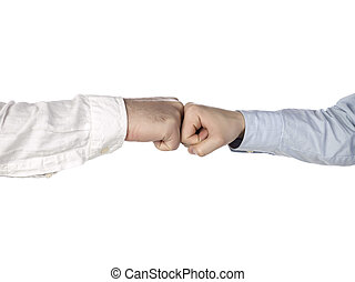 two hands doing a fist bump isolated on white
