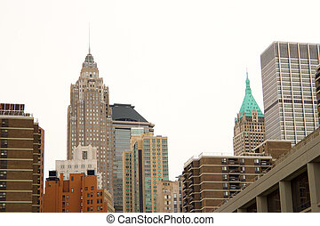 Wall Street buildings, NYC - Skyline of office and...