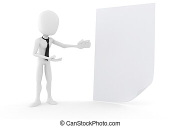 3d man presenting a blank document