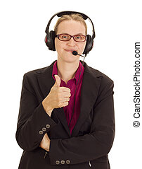 Business person with head set