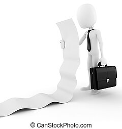 3d man business executive holding a blank list, on white...