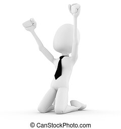 3d man success in business, on white background