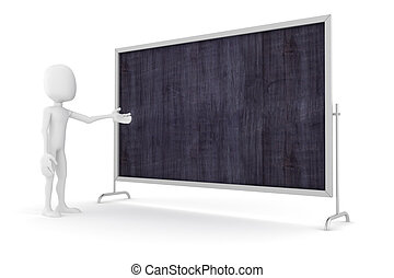 3d man standing near a blank board, presentation