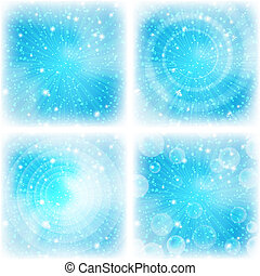 Abstract background, bright blue, set