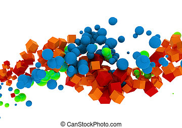 3d abstract colorful cubes