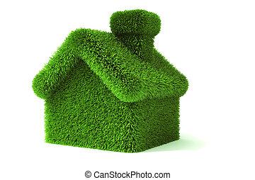 3d green grass house, ecology concept