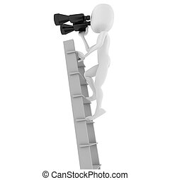 3d man business man holding a binocular searching for...