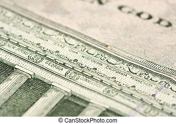 Macro of Five Dollar Bill Back - Macro of the back of the...