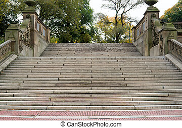 Staircase to the Bethesda Terrace, Central Park, NY