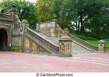 Ornate staircase at the Bethesda Terrace, Central Park, NY -...