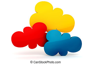 3d colorfull cloud shape of bubble talk