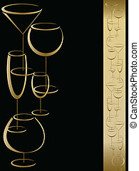 Wine card menu with wineglasses