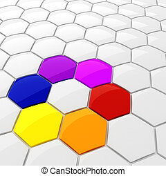 3d colorful hexagonal puzzle pieces