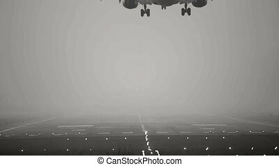 Landing. - Jet airplane landing, early morning. Stylized...