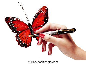 Womans hand drawing a butterfly - Womans hand holding a pen...