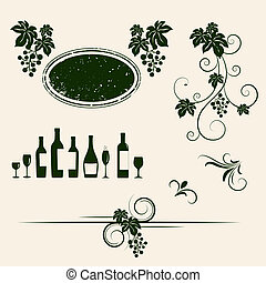 Winery design object silhouettes Vector illustration