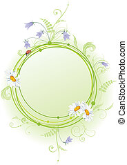 daisy, bluebell and ladybird - vector frame with flowers of...