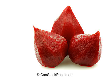 pickled beetroots - pickled beetroots on a white background...
