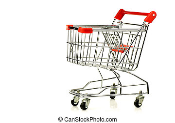 empty shopping cart - empty shopping cart on a white...