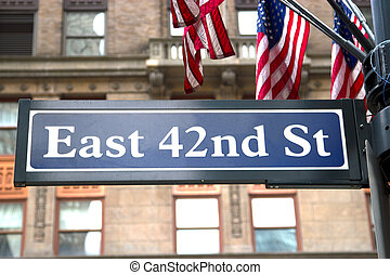 42nd St, NYC - The street sign for East 42nd Street on the...