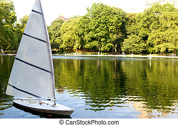 Sailboat on the Conservatory Water in Central Park, NYC
